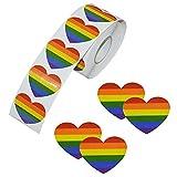 Pegatinas de cinta de arco iris, 500 piezas de amor Orgullo Gay 7 colores rayas en forma de corazón rollo de cinta para celebraciones del orgullo gay (corazón)