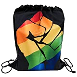 WABISABI DREAMS Mochila LGTB Orgullo Gay   Rainbow Pride Gay   Puño de protesta   Mochila con cordón
