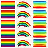 Vamei 24pcs Orgullo Gay Rainbow Stickers Tatuaje Temporal Body Paint 3 Formas Tattoo Set para celebraciones del Orgullo Gay (B)