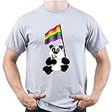 EUGINE DREAM Panda Hold LGBT Rainbow Flag Gay Pride Camiseta para Hombre Gris XXL