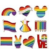 10 Piezas Bandera Insignias LGBT Broche, Solapa Regalo Broche de Metal, Broche de Orgullo Gay, para Suéteres, Bufandas, Pañuelos, Vestidos, Trajes, Bolsos, Mochilas