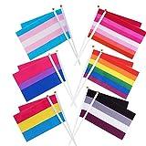 Whaline 60 Unidades de Banderas de arcoíris, Orgullo Gay, Banderas pequeñas transgénero Asexual Bisexual Pansexual Lesbianas Banderas LGBT Decoraciones de Desfile (10 Piezas Cada uno de 6 Patrones)